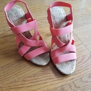 Ivanka Trump Coral Strappy Heeled Cork Sandals